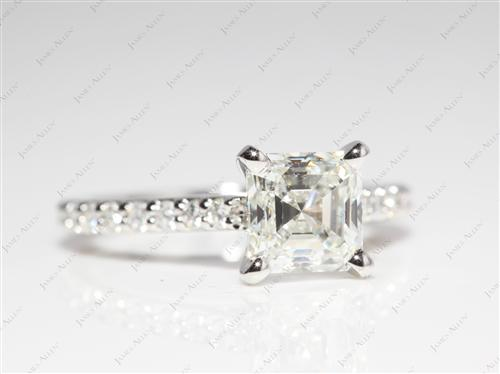 Platinum 1.55 Asscher cut Engagement Rings Side Stones