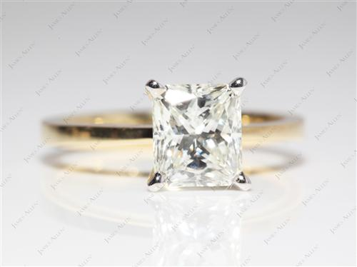 Gold 2.01 Radiant cut Solitaire Diamond Ring