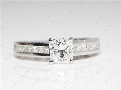 Platinum 1.00 Radiant cut Channel Diamond Ring