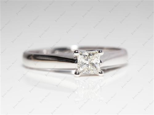 White Gold 0.51 Princess cut Diamond Engagement Solitaire Rings