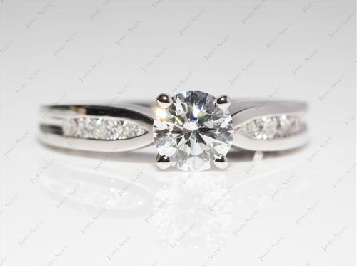 Platinum 0.91 Round cut Channel Cut Ring