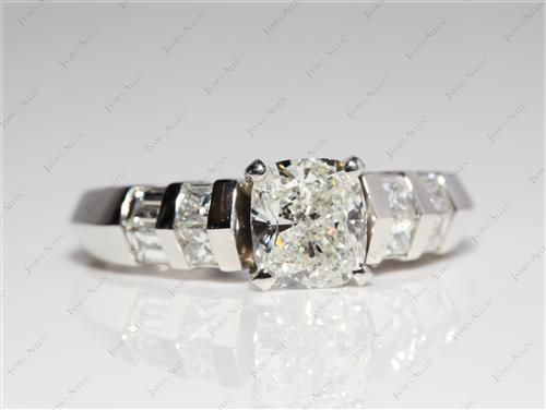 Platinum 1.31 Cushion cut Engagement Ring With Side Stones