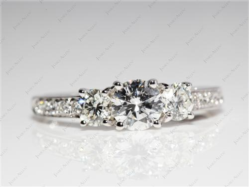 White Gold 0.72 Round cut Engagement Ring