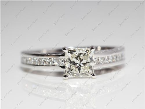 White Gold 0.91 Princess cut Channel Set Rings