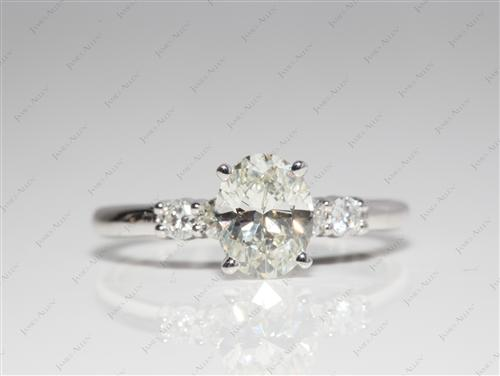 White Gold 1.00 Oval cut Engagement Rings With Sidestones