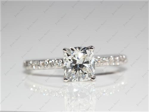 White Gold 1.02 Cushion cut Pave Ring Setting