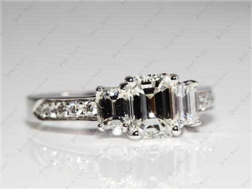 White Gold 0.97 Emerald cut Side Stone Engagement Rings