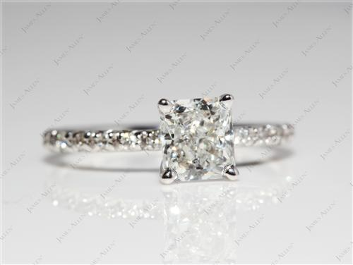 White Gold 0.96 Radiant cut Pave Ring