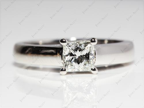 Platinum 0.72 Princess cut Solitaire Engagement Ring
