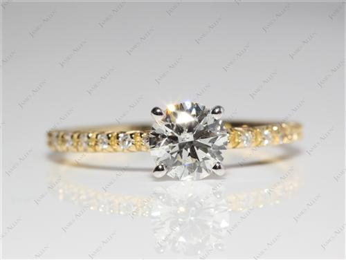 Gold 0.81 Round cut Wedding And Engagement Ring Sets