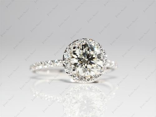 White Gold 1.01 Round cut Pave Diamond Engagement Rings