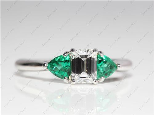 White Gold 0.73 Emerald cut Ruby And Diamond Ring