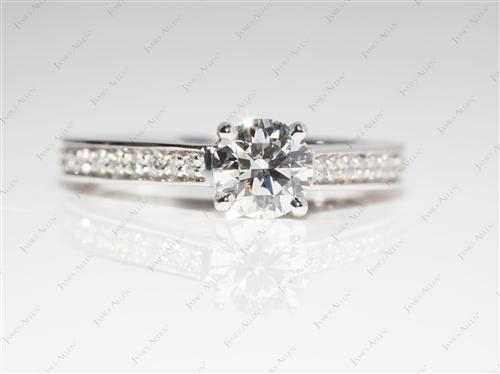 White Gold 0.57 Round cut Pave Engagement Ring