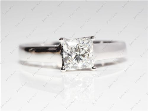White Gold 1.21 Princess cut Diamond Engagement Solitaire Rings