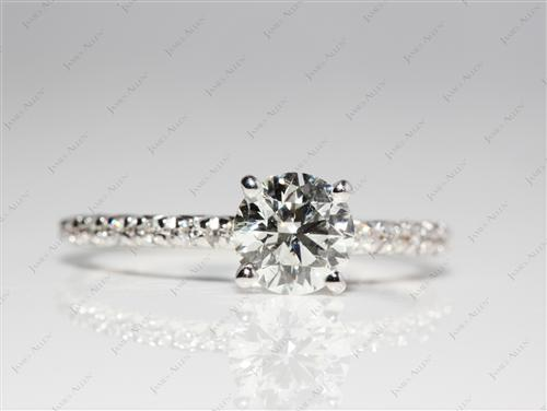 White Gold 0.80 Round cut Pave Ring Setting