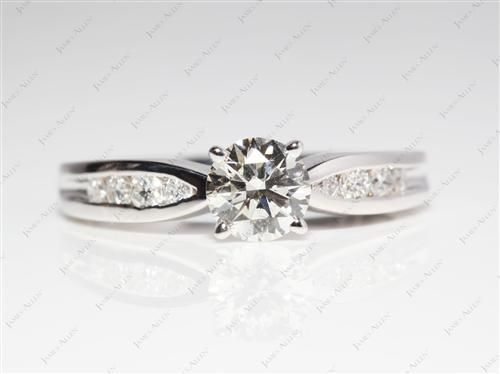 White Gold 0.81 Round cut Channel Cut Ring