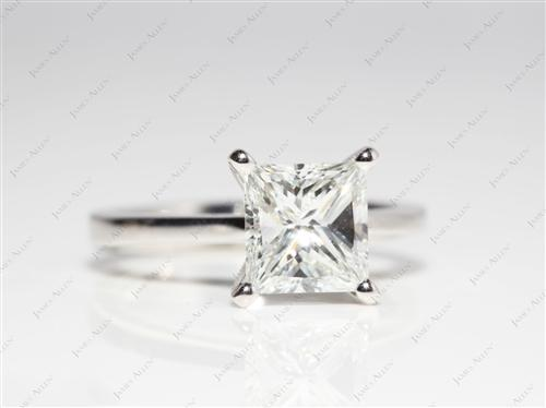 Platinum 1.80 Princess cut Diamond Solitaire Ring Settings