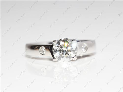 Platinum 0.80 Round cut Solitaire Diamond Ring