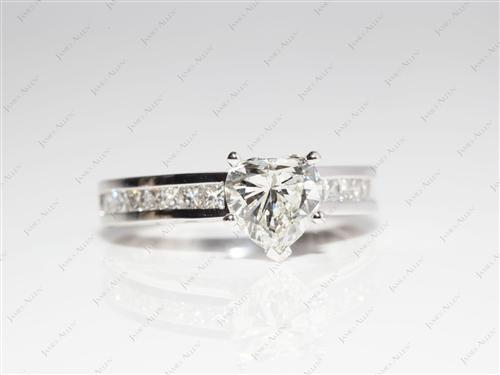 White Gold 1.01 Heart shaped Wedding Ring Sets
