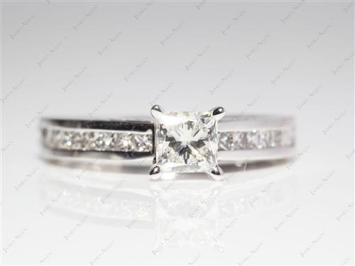 White Gold 0.71 Princess cut Bridal Wedding Ring Sets