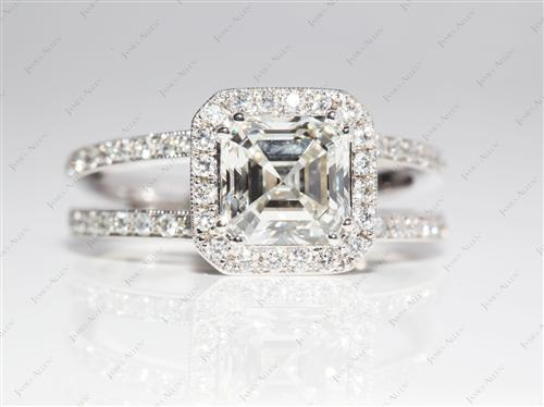 White Gold 1.71 Asscher cut Micro Pave Diamond Engagement Ring