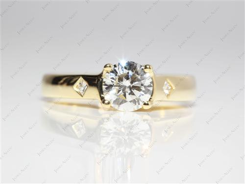 Gold 0.71 Round cut Diamond Solitaire Ring Settings
