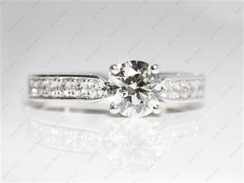 Platinum 1.06 Round cut Pave Engagement Ring