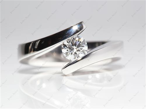 White Gold 0.50 Round cut Tension Set Engagement Rings