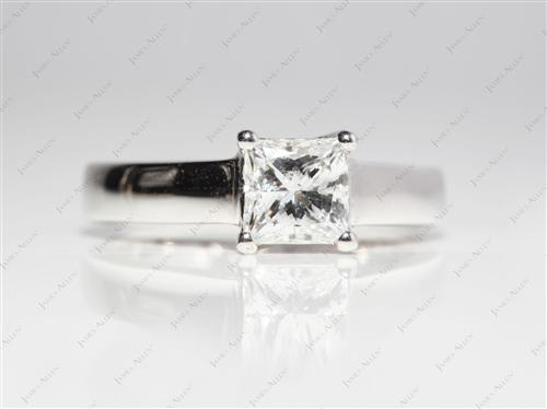 White Gold 0.90 Princess cut Solitaire Ring Mountings