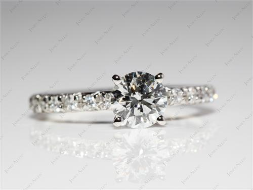 Platinum 0.78 Round cut Pave Diamond Engagement Rings
