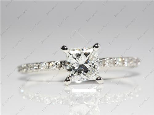 Platinum 1.01 Princess cut Wedding Rings