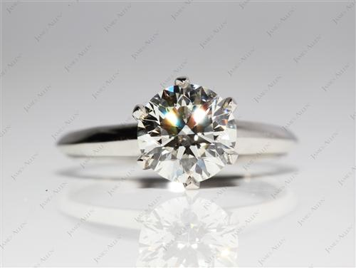 Platinum 1.31 Round cut Round Solitaire Ring