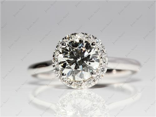 White Gold 1.01 Round cut Pave Ring Settings