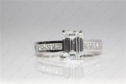 Platinum 1.57 Emerald cut Diamond Wedding Sets