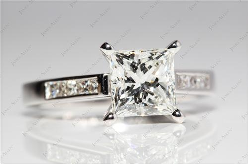 White Gold 1.53 Princess cut Channel Cut Ring