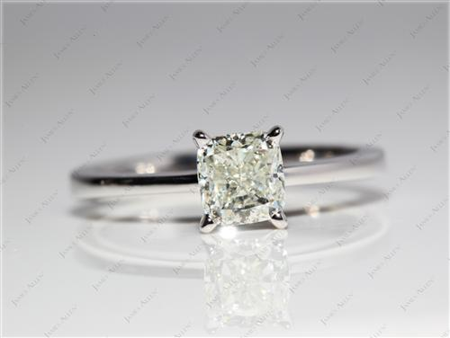 White Gold 0.98 Cushion cut Diamond Ring