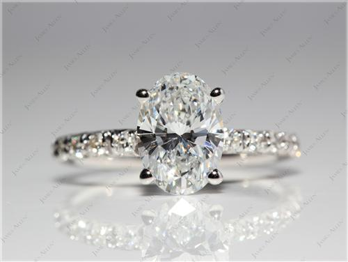 White Gold 1.51 Oval cut Engagement Ring Micro Pave