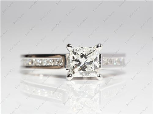 White Gold 1.01 Princess cut Channel Set Diamond Band