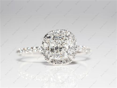 Platinum 1.02 Cushion cut Pave Rings