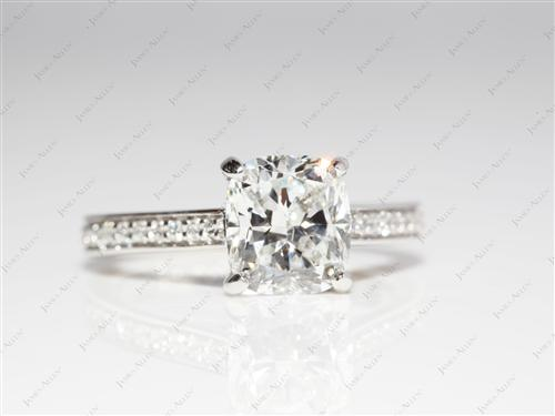 Platinum 2.01 Cushion cut Engagement Rings Pave