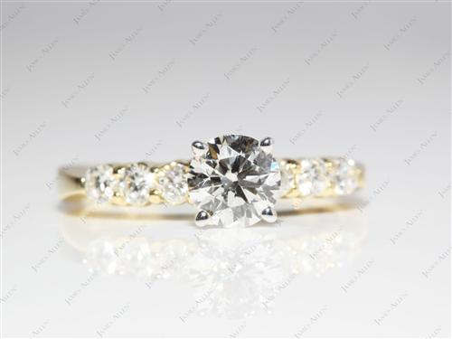 Gold 0.84 Round cut Diamond Ring With Side Stones