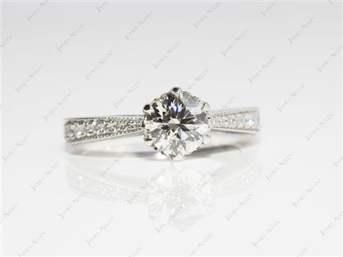 Platinum 0.81 Round cut Pave Engagement Ring
