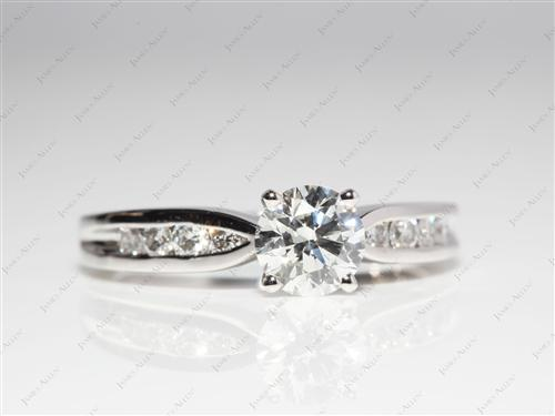 Platinum 0.91 Round cut Diamond Channel Rings
