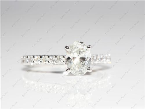 White Gold 0.91 Oval cut Sidestone Engagement Ring