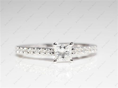 White Gold 0.41 Princess cut Side Stone Engagement Ring