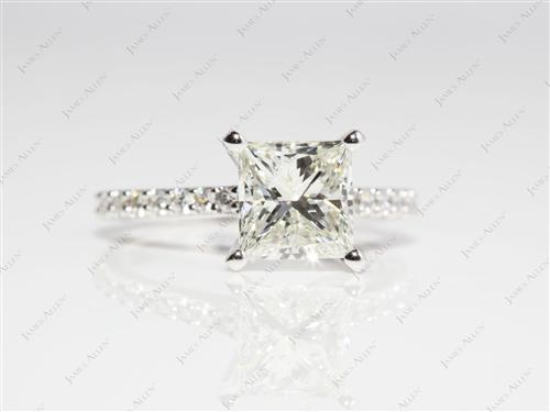 White Gold 1.80 Princess cut Engagement Ring Side Stones