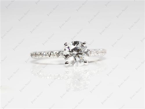 White Gold 0.74 Round cut Pave Rings