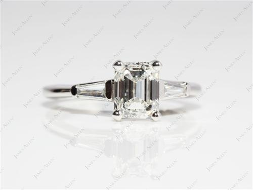 Platinum 1.70 Emerald cut Sidestone Engagement Ring