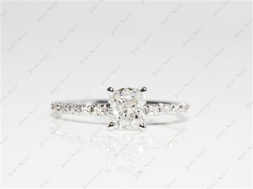 White Gold 1.01 Cushion cut Diamond Ring