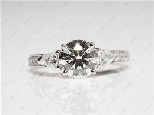 Platinum 1.51 Round cut Engagement Ring With Side Stones